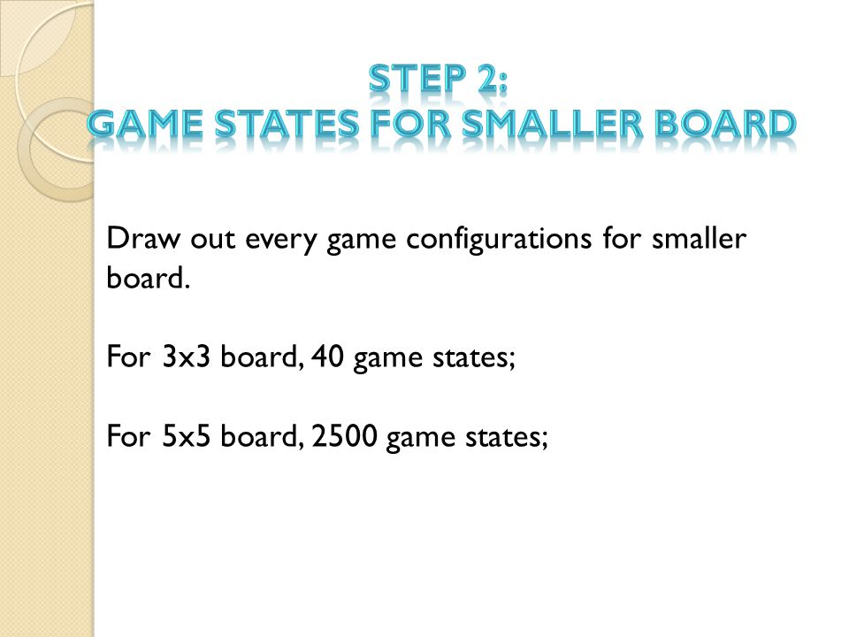 Draw out every game configurations for smaller board.