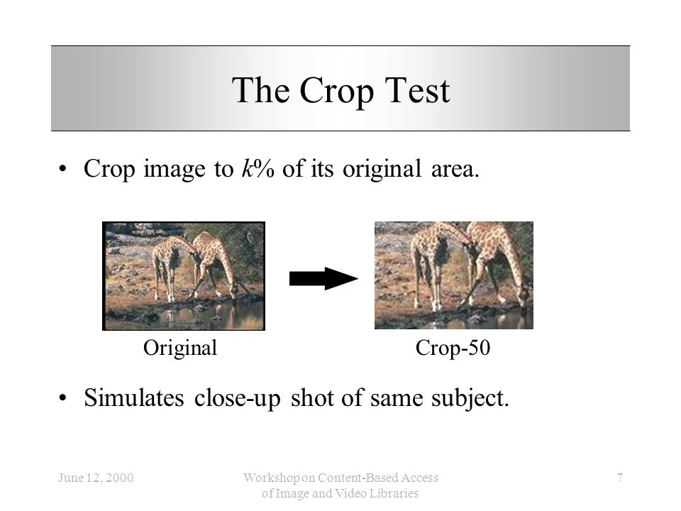 June 12, 2000Workshop on Content-Based Access of Image and Video Libraries 7 The Crop Test Crop image to k% of its original area. Simulates close-up s