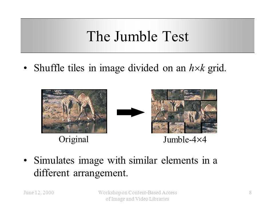 June 12, 2000Workshop on Content-Based Access of Image and Video Libraries 8 The Jumble Test Shuffle tiles in image divided on an h k grid. Simulates