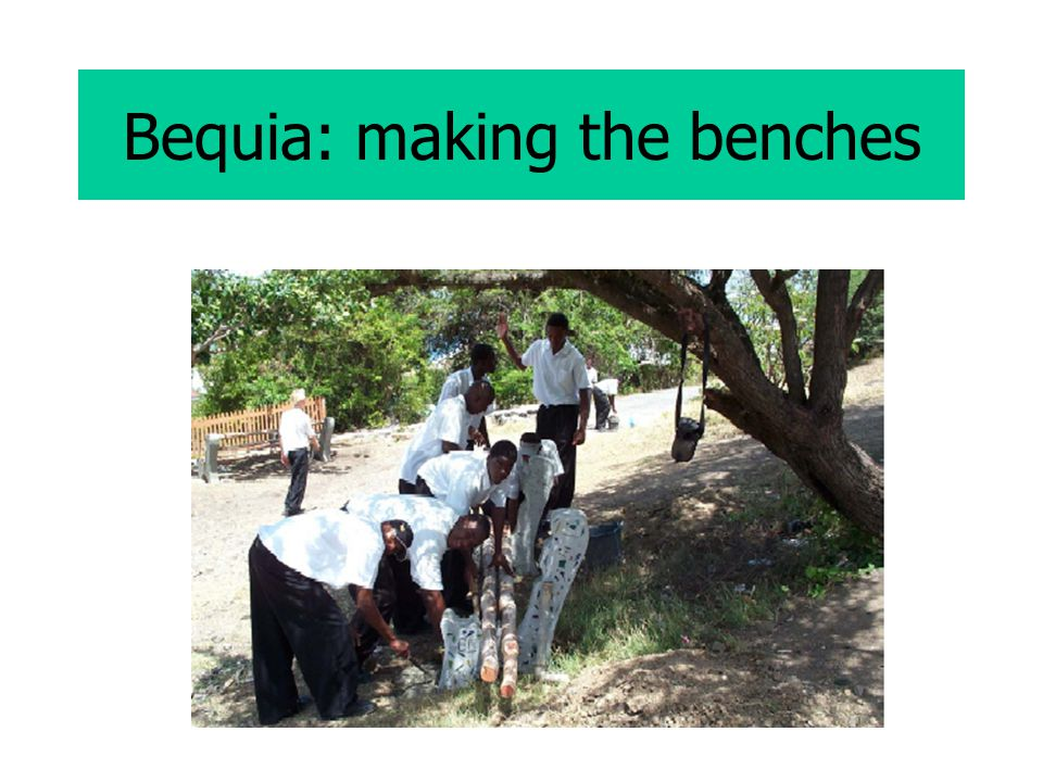 Bequia: making the benches