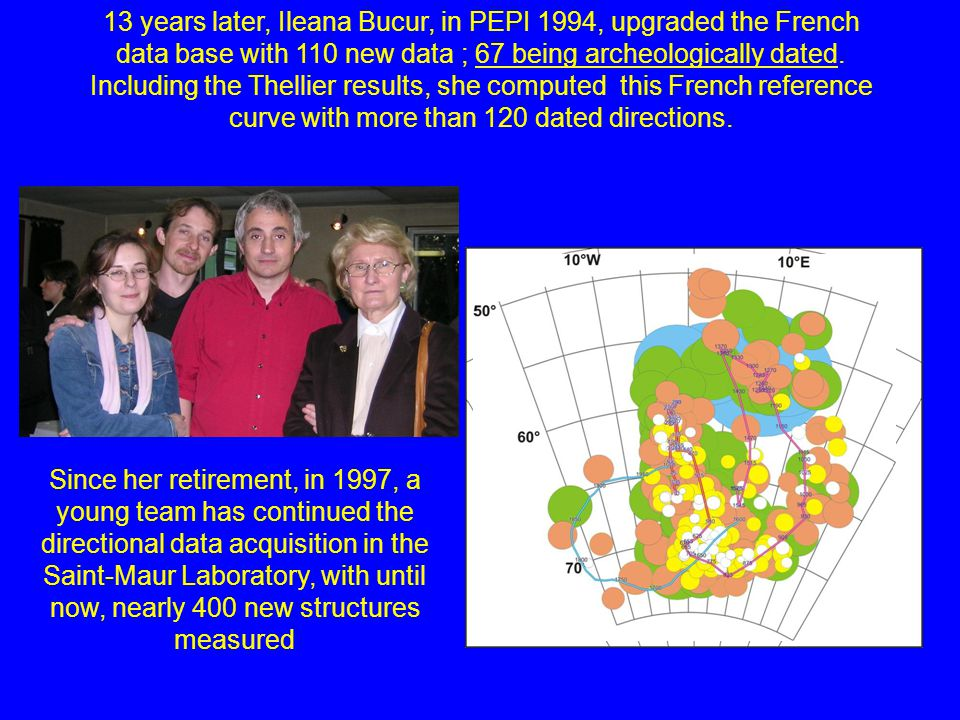 13 years later, Ileana Bucur, in PEPI 1994, upgraded the French data base with 110 new data ; 67 being archeologically dated.