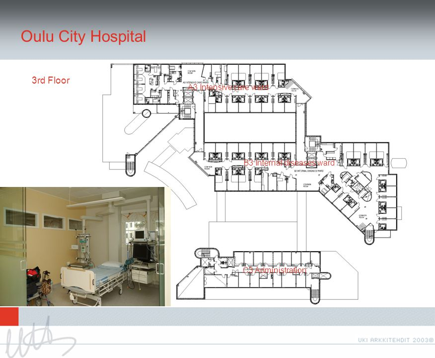 Oulu City Hospital 3rd Floor A3 Intensive care ward B3 Internal diseases ward C3 Administration
