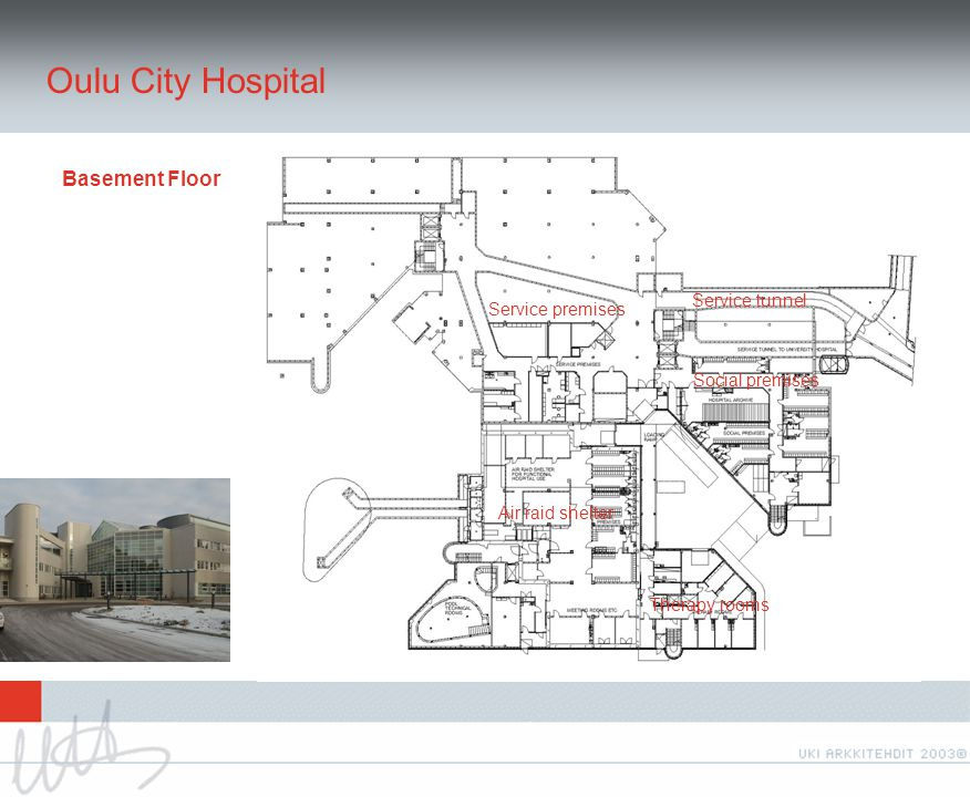 Oulu City Hospital Basement Floor Air raid shelter Social premises Service premises Service tunnel Therapy rooms