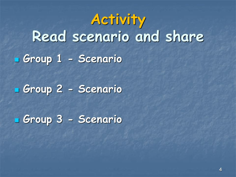 Activity Read scenario and share Group 1 - Scenario Group 1 - Scenario Group 2 - Scenario Group 2 - Scenario Group 3 - Scenario Group 3 - Scenario 4