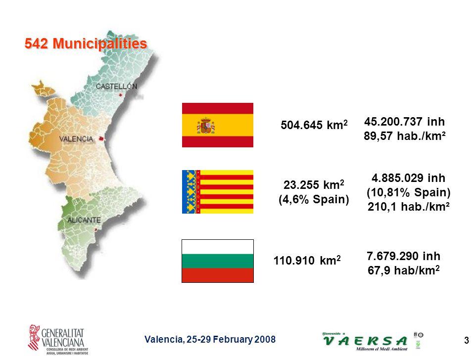 Valencia, 25-29 February 2008 3 23.255 km 2 (4,6% Spain) 4.885.029 inh (10,81% Spain) 210,1 hab./km² 110.910 km 2 7.679.290 inh 67,9 hab/km 2 542 Municipalities 45.200.737 inh 89,57 hab./km² 504.645 km 2