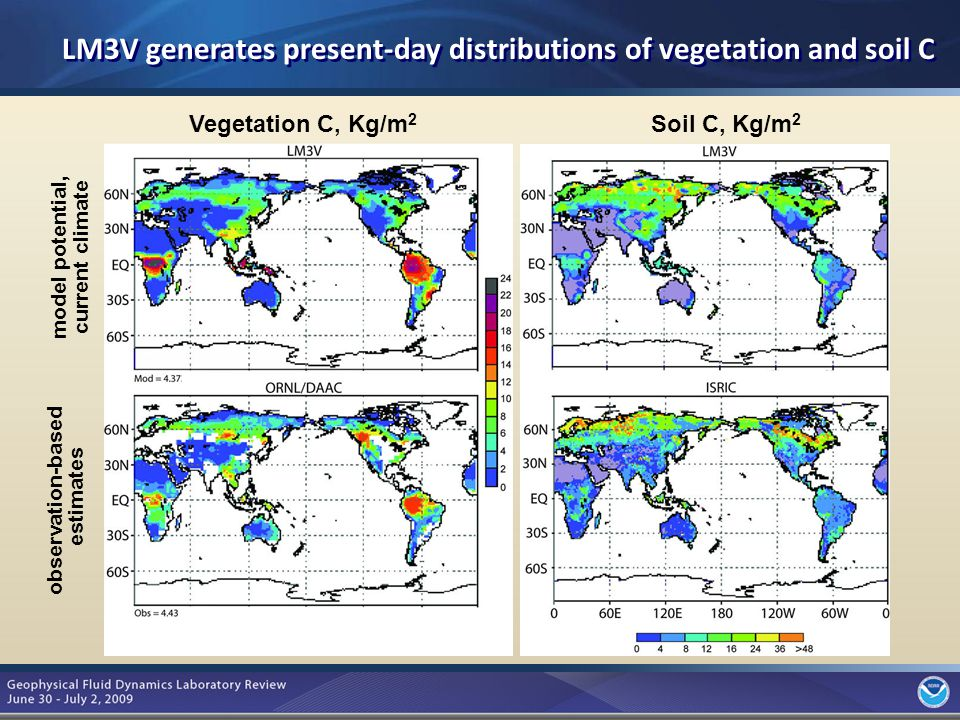 4 model potential, current climate observation-based estimates Vegetation C, Kg/m 2 Soil C, Kg/m 2 LM3V generates present-day distributions of vegetation and soil C