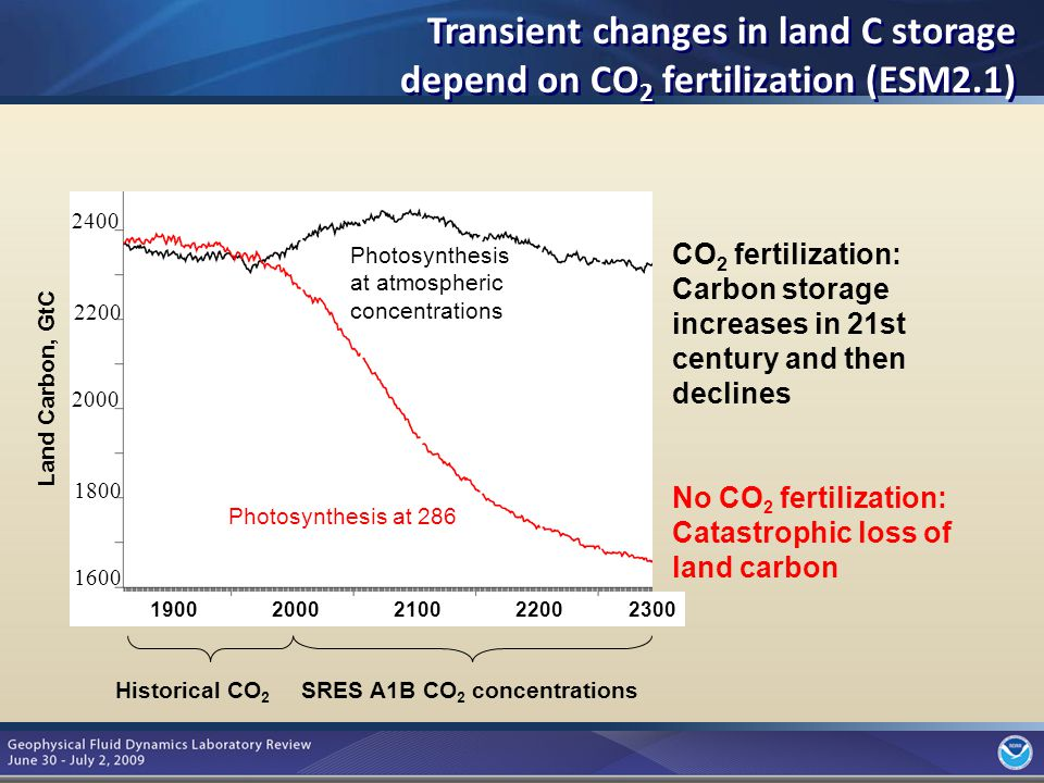 7 Land Carbon, GtC CO 2 fertilization: Carbon storage increases in 21st century and then declines No CO 2 fertilization: Catastrophic loss of land carbon Photosynthesis at 286 Photosynthesis at atmospheric concentrations Historical CO 2 SRES A1B CO 2 concentrations Transient changes in land C storage depend on CO 2 fertilization (ESM2.1)