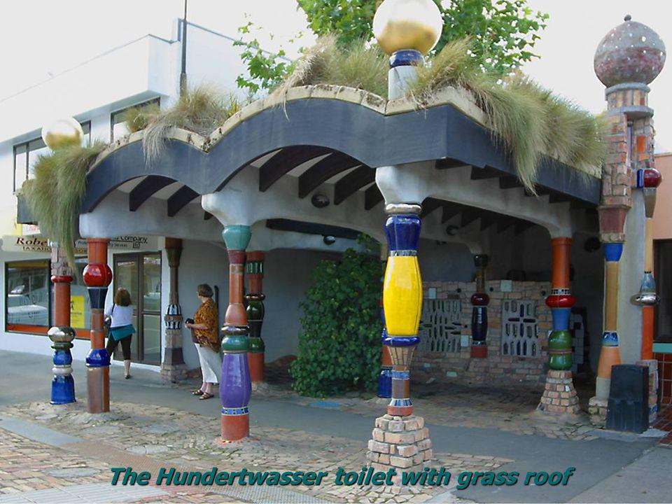 The Hundertwasser toilet with grass roof