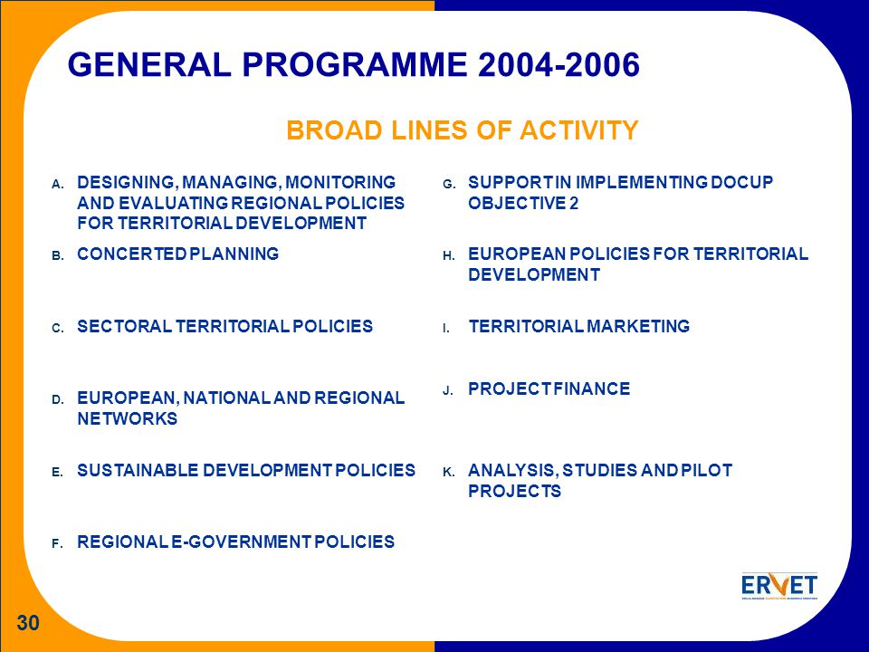 30 GENERAL PROGRAMME 2004-2006 BROAD LINES OF ACTIVITY A. DESIGNING, MANAGING, MONITORING AND EVALUATING REGIONAL POLICIES FOR TERRITORIAL DEVELOPMENT