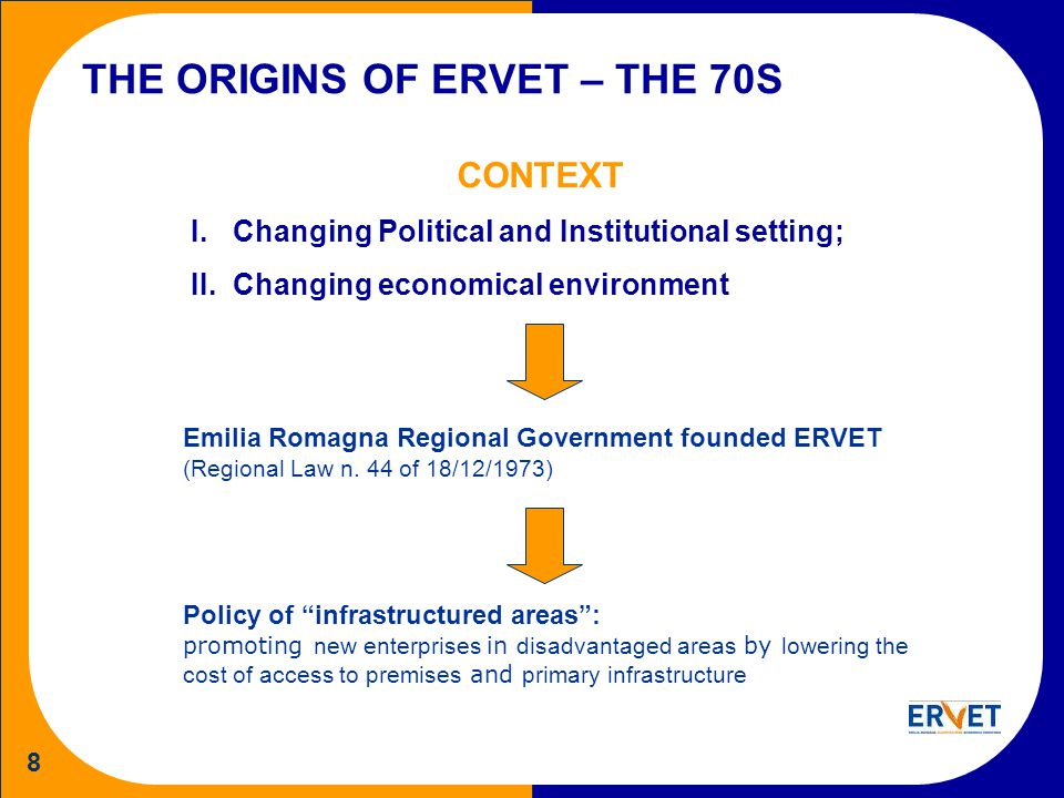 8 THE ORIGINS OF ERVET – THE 70S CONTEXT I.Changing Political and Institutional setting; II.Changing economical environment Emilia Romagna Regional Government founded ERVET (Regional Law n.
