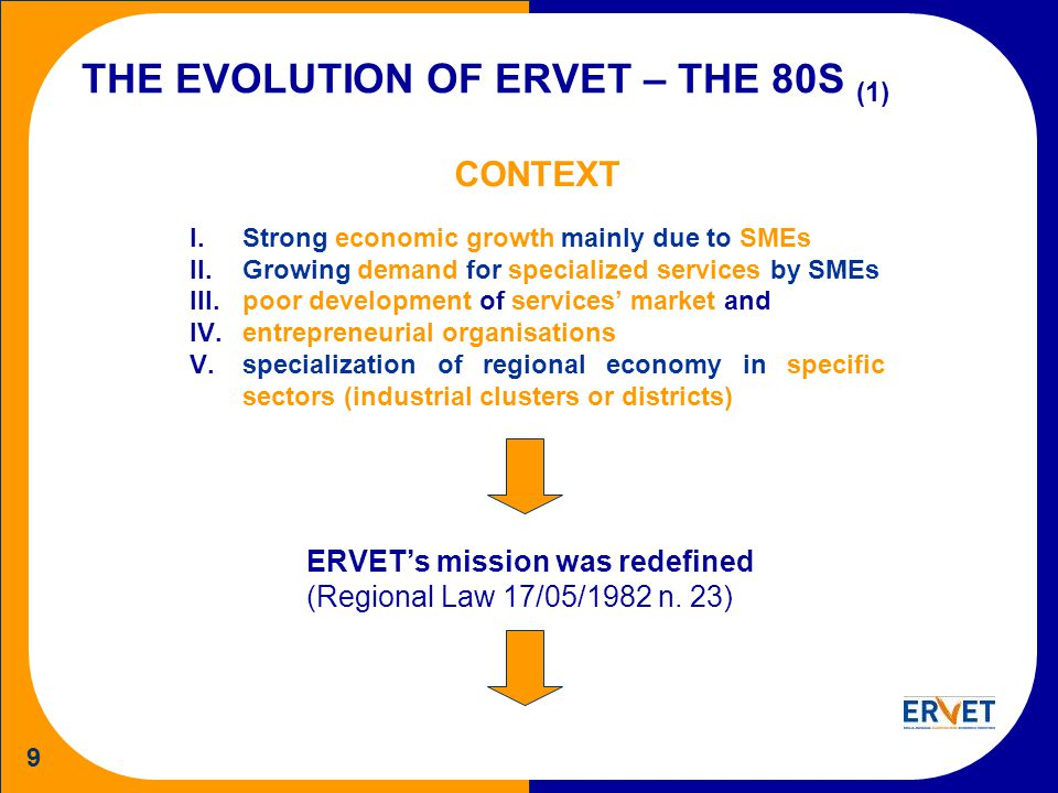 9 THE EVOLUTION OF ERVET – THE 80S (1) CONTEXT I.Strong economic growth mainly due to SMEs II.Growing demand for specialized services by SMEs III.poor development of services market and IV.entrepreneurial organisations V.specialization of regional economy in specific sectors (industrial clusters or districts) ERVETs mission was redefined (Regional Law 17/05/1982 n.