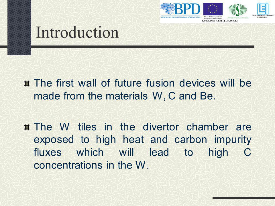 Introduction The first wall of future fusion devices will be made from the materials W, C and Be.