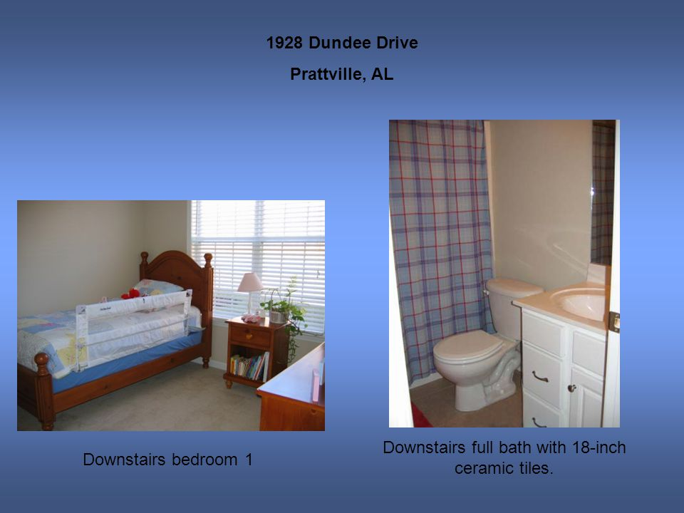 1928 Dundee Drive Prattville, AL Downstairs bedroom 1 Downstairs full bath with 18-inch ceramic tiles.