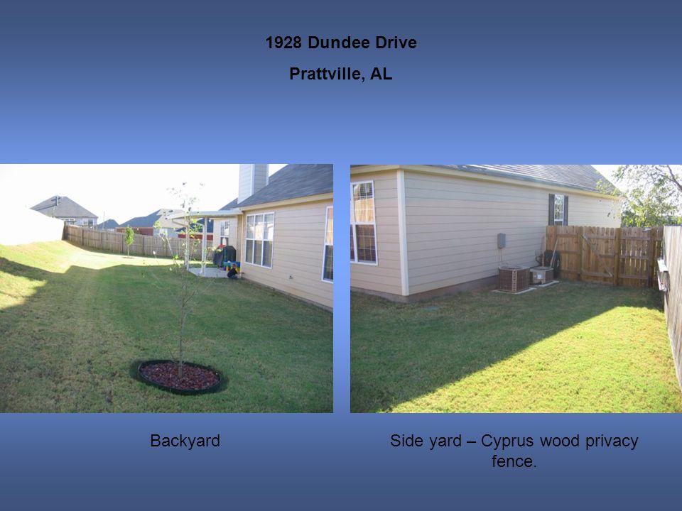 1928 Dundee Drive Prattville, AL BackyardSide yard – Cyprus wood privacy fence.