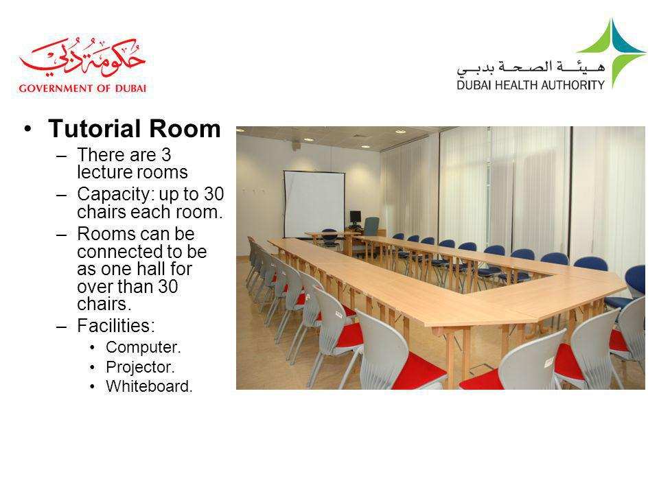 Tutorial Room –There are 3 lecture rooms –Capacity: up to 30 chairs each room.