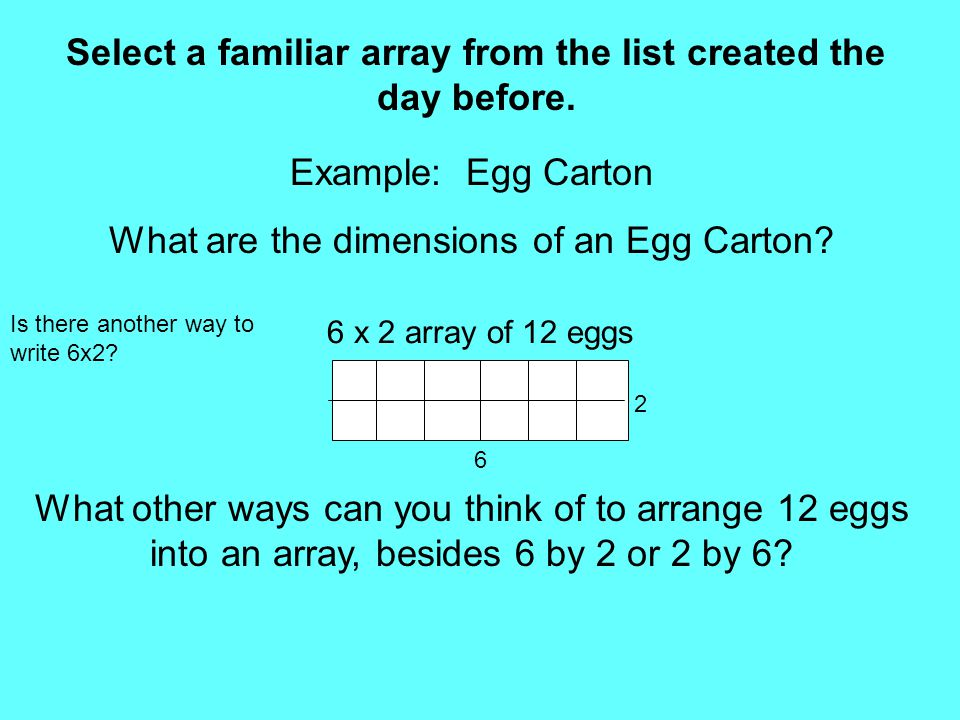 Select a familiar array from the list created the day before. Example: Egg Carton What are the dimensions of an Egg Carton? What other ways can you th