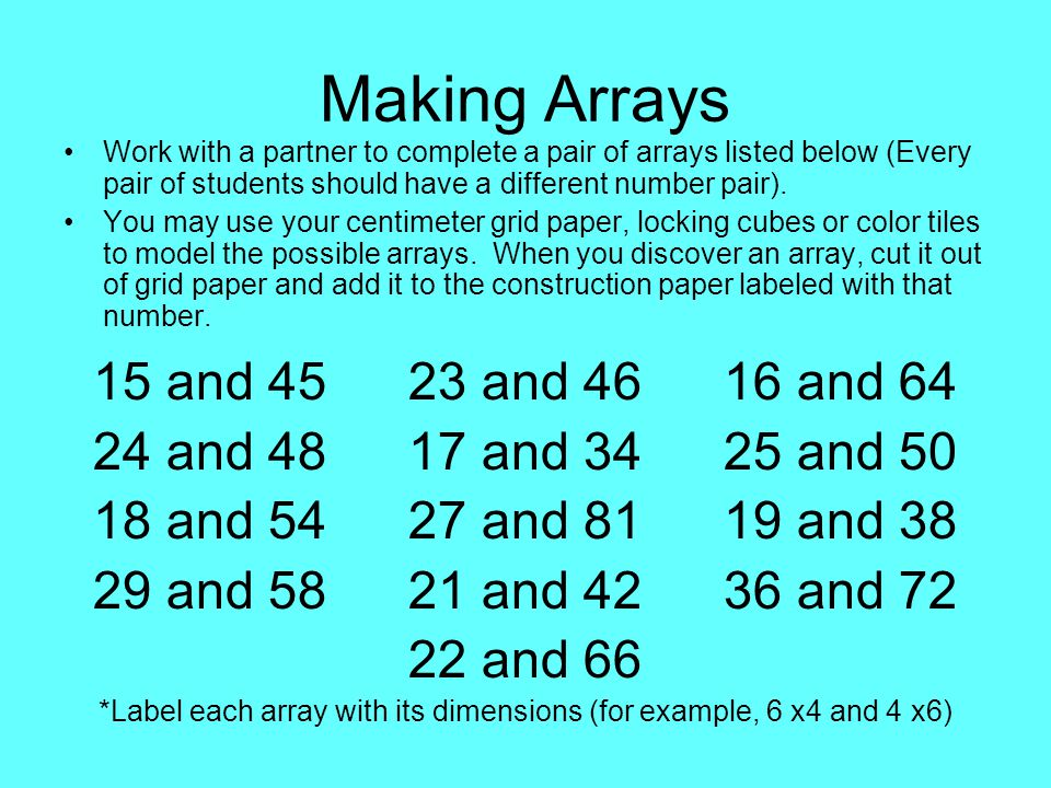 Making Arrays Work with a partner to complete a pair of arrays listed below (Every pair of students should have a different number pair).