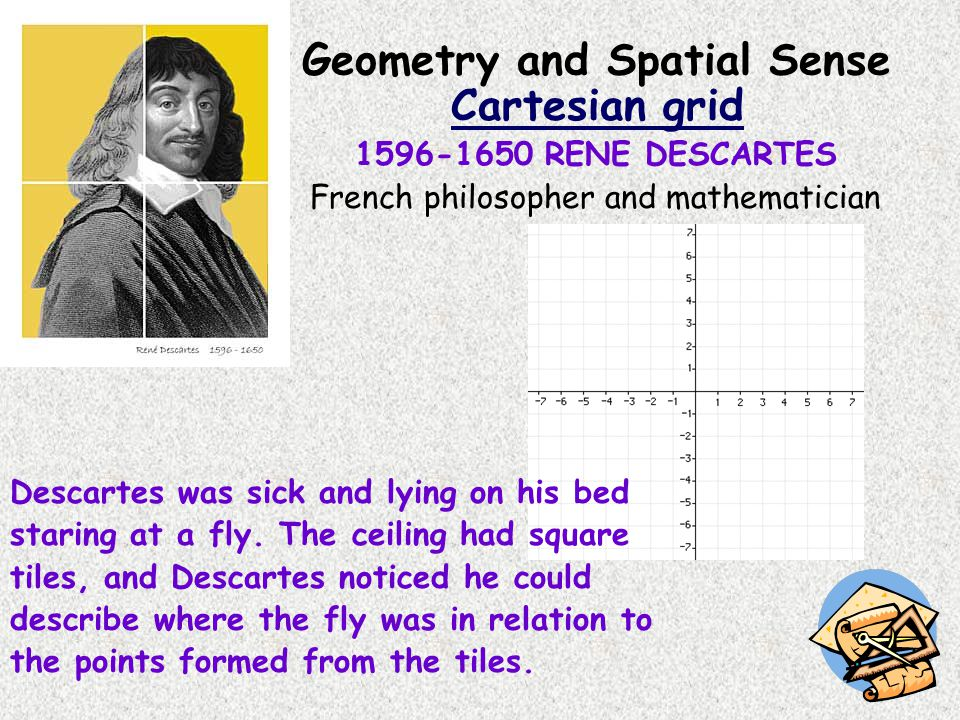 Geometry and Spatial Sense Cartesian grid 1596-1650 RENE DESCARTES French philosopher and mathematician Descartes was sick and lying on his bed starin