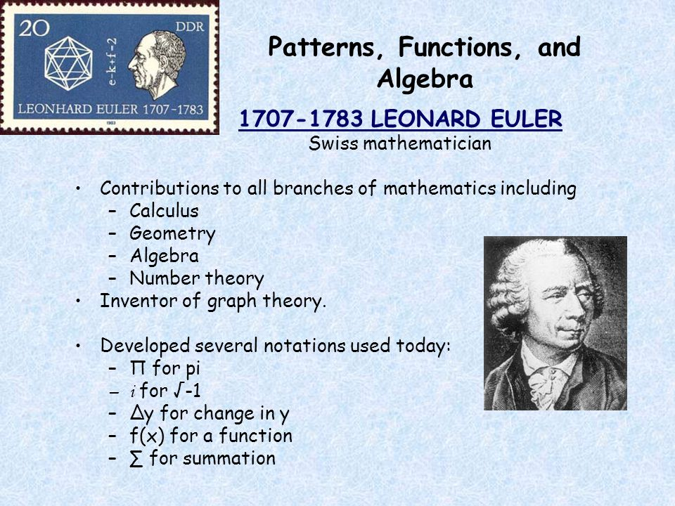 Patterns, Functions, and Algebra 1707-1783 LEONARD EULER Swiss mathematician Contributions to all branches of mathematics including –Calculus –Geometry –Algebra –Number theory Inventor of graph theory.