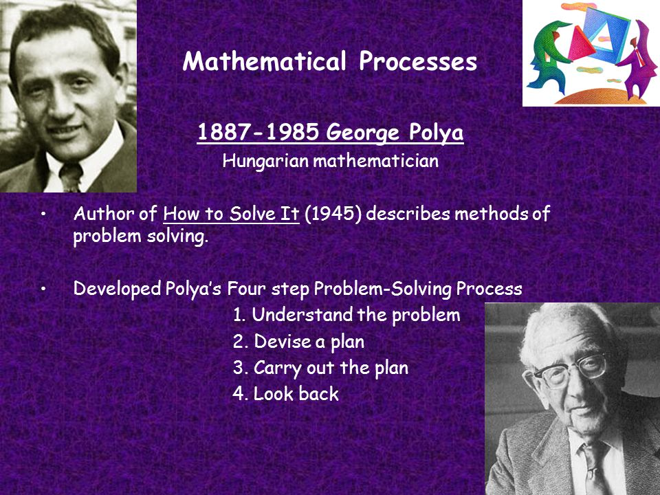 Mathematical Processes 1887-1985 George Polya Hungarian mathematician Author of How to Solve It (1945) describes methods of problem solving. Developed