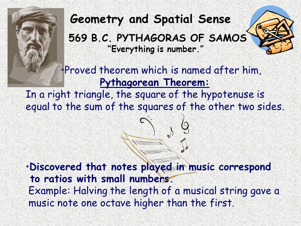 Geometry and Spatial Sense 569 B.C.PYTHAGORAS OF SAMOS Everything is number.