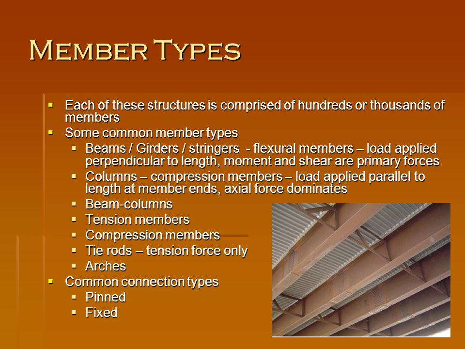 Member Types Each of these structures is comprised of hundreds or thousands of members Each of these structures is comprised of hundreds or thousands