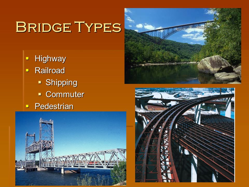 Bridge Types Highway Highway Railroad Railroad Shipping Shipping Commuter Commuter Pedestrian Pedestrian