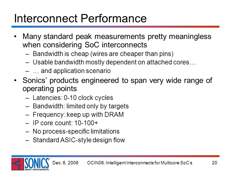 OCIN06: Intelligent Interconnects for Multicore SoCs20Dec. 6, 2006 Interconnect Performance Many standard peak measurements pretty meaningless when co