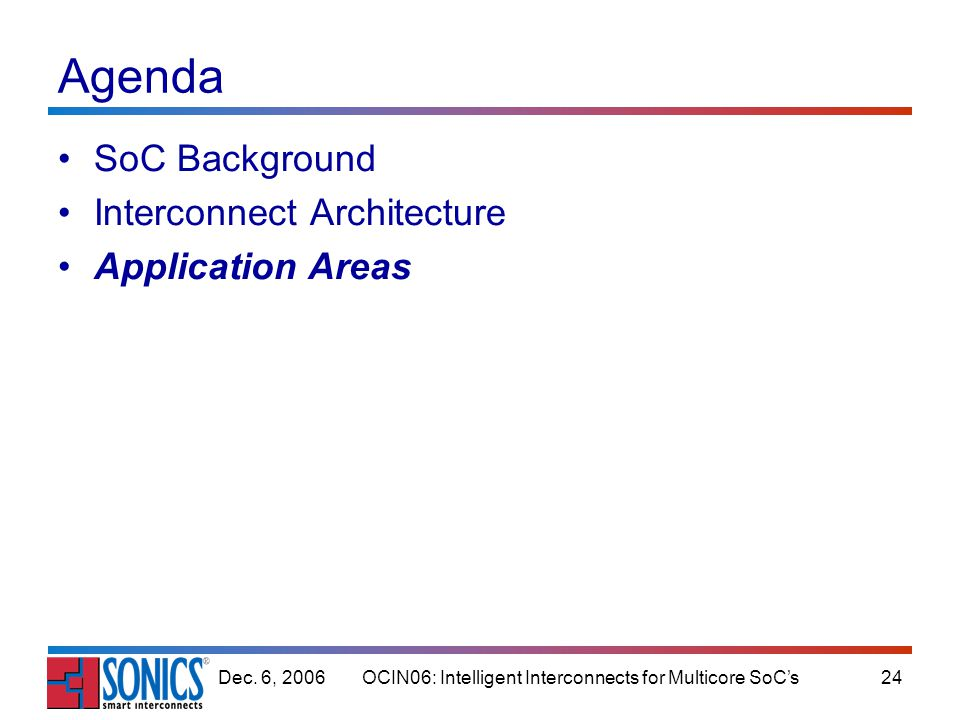 OCIN06: Intelligent Interconnects for Multicore SoCs24Dec. 6, 2006 Agenda SoC Background Interconnect Architecture Application Areas