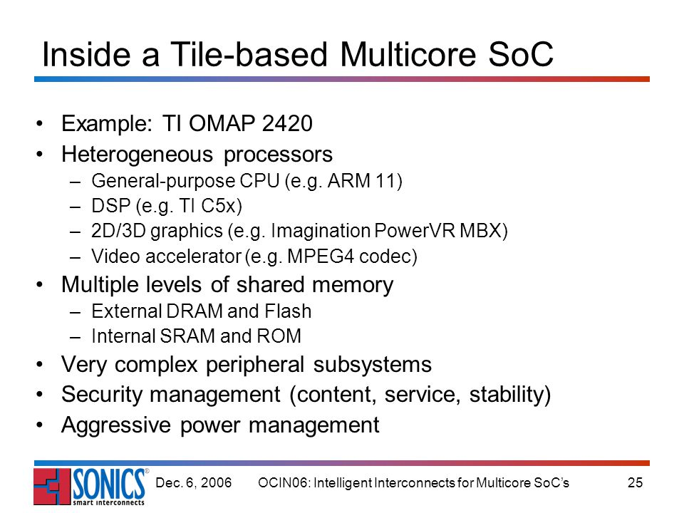 OCIN06: Intelligent Interconnects for Multicore SoCs25Dec. 6, 2006 Inside a Tile-based Multicore SoC Example: TI OMAP 2420 Heterogeneous processors –G