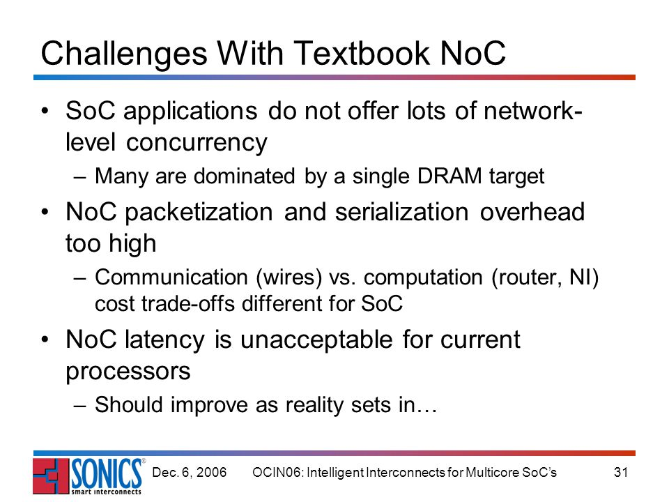 OCIN06: Intelligent Interconnects for Multicore SoCs31Dec. 6, 2006 Challenges With Textbook NoC SoC applications do not offer lots of network- level c
