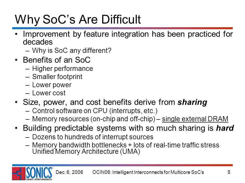 OCIN06: Intelligent Interconnects for Multicore SoCs5Dec. 6, 2006 Why SoCs Are Difficult Improvement by feature integration has been practiced for dec