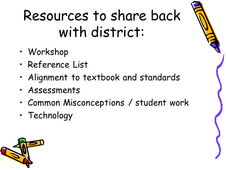 Resources to share back with district: Workshop Reference List Alignment to textbook and standards Assessments Common Misconceptions / student work Technology