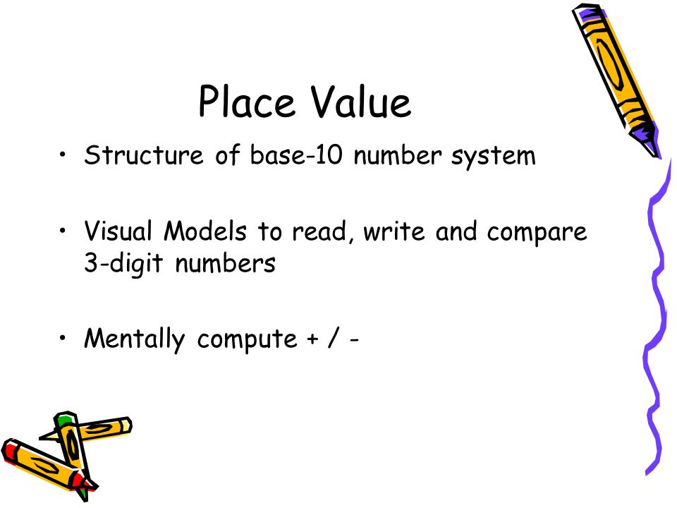 Place Value Structure of base-10 number system Visual Models to read, write and compare 3-digit numbers Mentally compute + / -