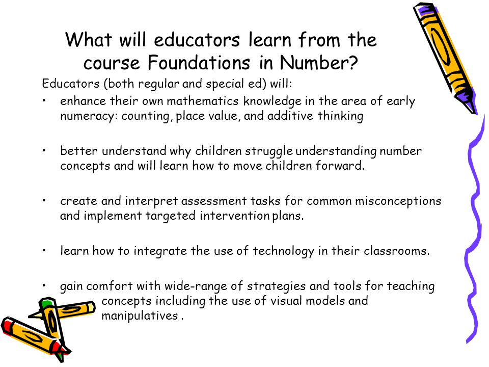 What will educators learn from the course Foundations in Number.