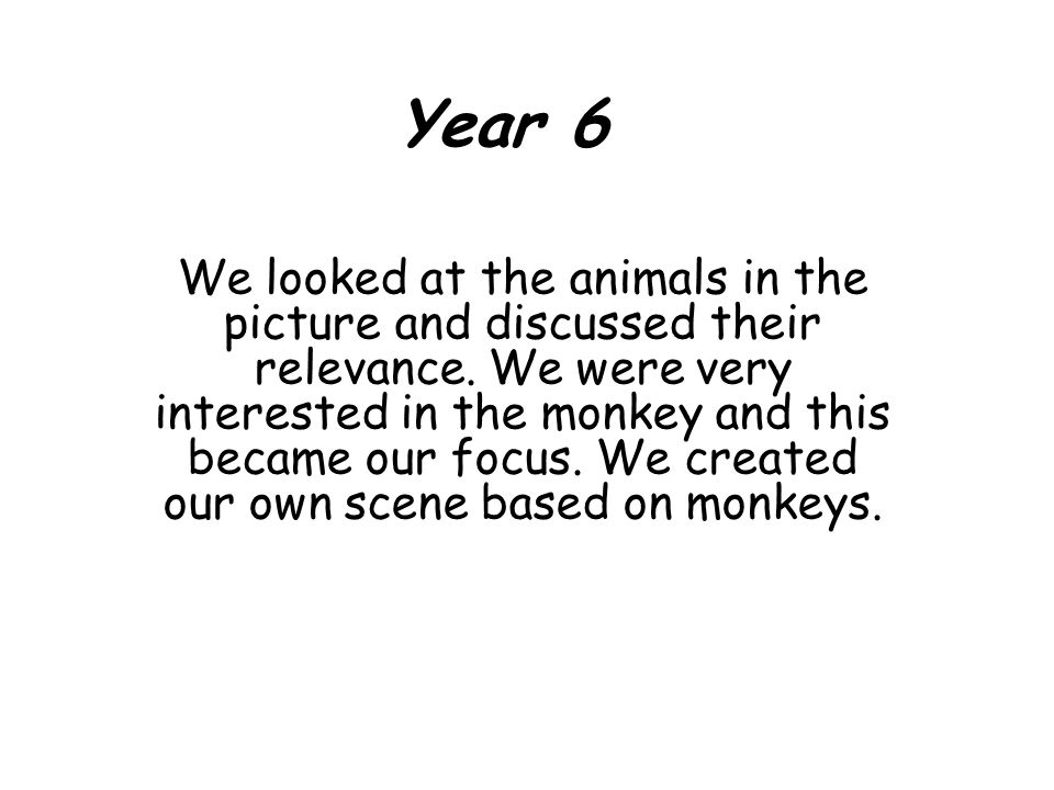 Year 6 We looked at the animals in the picture and discussed their relevance.