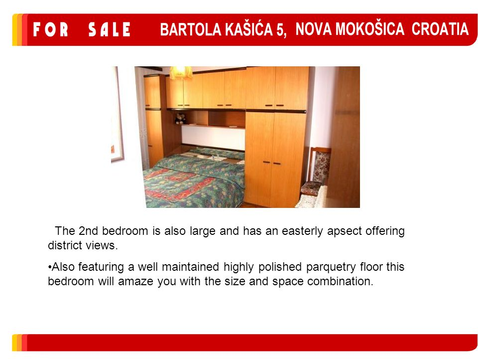 The 2nd bedroom is also large and has an easterly apsect offering district views.