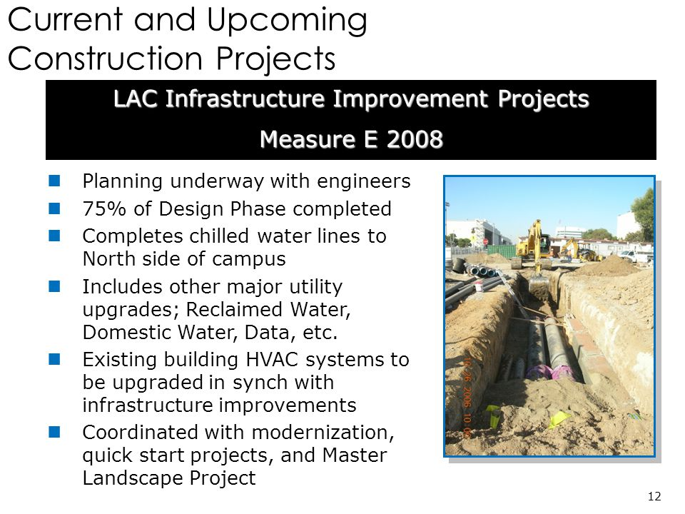 Current and Upcoming Construction Projects LAC Infrastructure Improvement Projects Measure E 2008 12 Planning underway with engineers 75% of Design Phase completed Completes chilled water lines to North side of campus Includes other major utility upgrades; Reclaimed Water, Domestic Water, Data, etc.