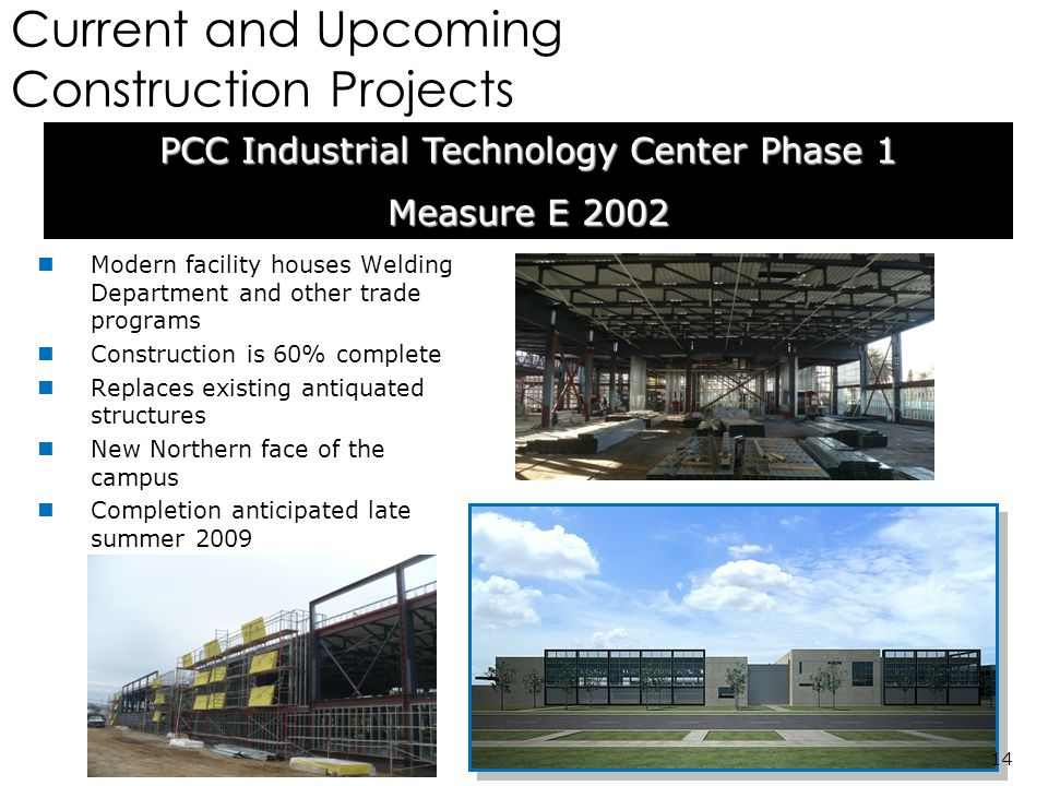Current and Upcoming Construction Projects Modern facility houses Welding Department and other trade programs Construction is 60% complete Replaces existing antiquated structures New Northern face of the campus Completion anticipated late summer 2009 PCC Industrial Technology Center Phase 1 Measure E 2002 14