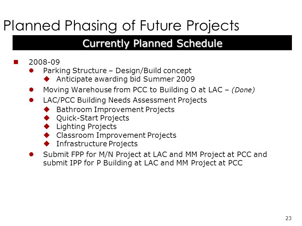 Planned Phasing of Future Projects 23 Currently Planned Schedule 2008-09 Parking Structure – Design/Build concept Anticipate awarding bid Summer 2009 Moving Warehouse from PCC to Building O at LAC – (Done) LAC/PCC Building Needs Assessment Projects Bathroom Improvement Projects Quick-Start Projects Lighting Projects Classroom Improvement Projects Infrastructure Projects Submit FPP for M/N Project at LAC and MM Project at PCC and submit IPP for P Building at LAC and MM Project at PCC