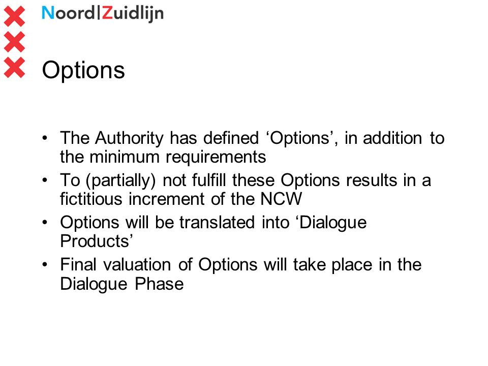 Options The Authority has defined Options, in addition to the minimum requirements To (partially) not fulfill these Options results in a fictitious increment of the NCW Options will be translated into Dialogue Products Final valuation of Options will take place in the Dialogue Phase