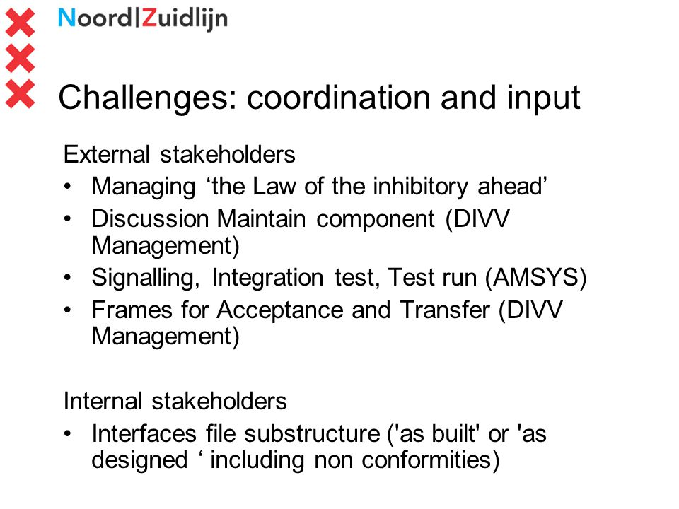 Challenges: coordination and input External stakeholders Managing the Law of the inhibitory ahead Discussion Maintain component (DIVV Management) Signalling, Integration test, Test run (AMSYS) Frames for Acceptance and Transfer (DIVV Management) Internal stakeholders Interfaces file substructure ( as built or as designed including non conformities)