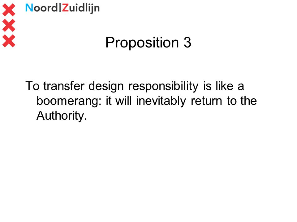 Proposition 3 To transfer design responsibility is like a boomerang: it will inevitably return to the Authority.