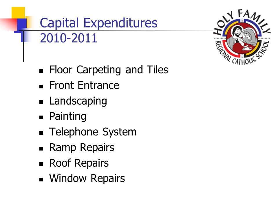 Capital Expenditures 2010-2011 Floor Carpeting and Tiles Front Entrance Landscaping Painting Telephone System Ramp Repairs Roof Repairs Window Repairs