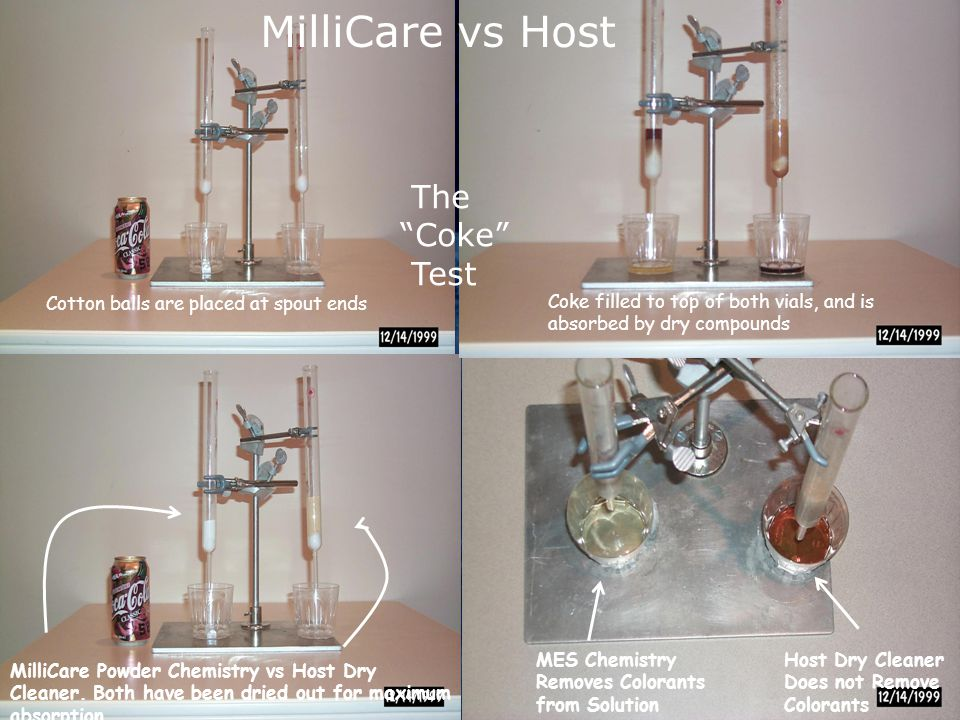 MilliCare Powder Chemistry vs Host Dry Cleaner.Both have been dried out for maximum absorption.