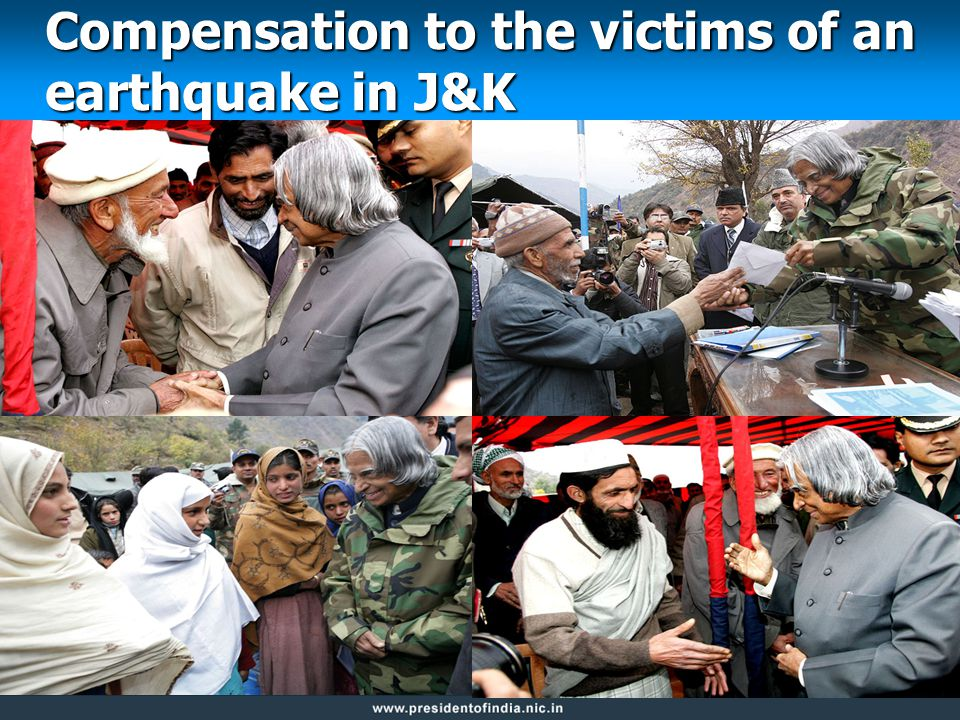 Compensation to the victims of an earthquake in J&K