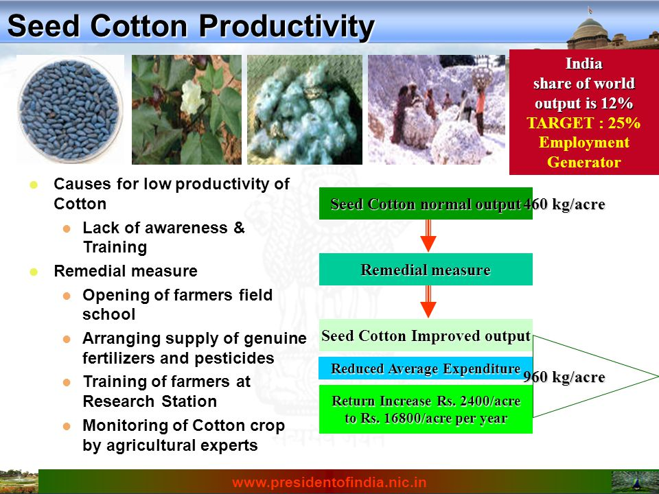 Causes for low productivity of Cotton Causes for low productivity of Cotton Lack of awareness & Training Lack of awareness & Training Remedial measure