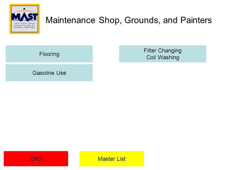 Maintenance Shop, Grounds, and Painters END Flooring Filter Changing Coil Washing Gasoline Use Master List