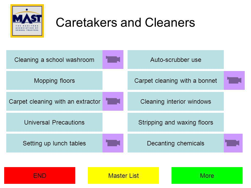 Caretakers and Cleaners Cleaning a school washroom Mopping floors Auto-scrubber use More Carpet cleaning with a bonnet Carpet cleaning with an extractor END Cleaning interior windows Universal PrecautionsStripping and waxing floors Setting up lunch tablesDecanting chemicals Master List