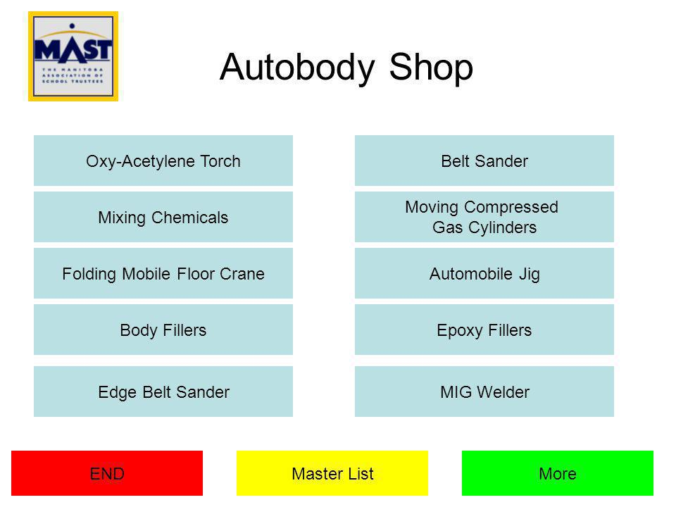 Autobody Shop Oxy-Acetylene Torch Mixing Chemicals Belt Sander Moving Compressed Gas Cylinders Folding Mobile Floor CraneAutomobile Jig Epoxy FillersBody Fillers Master ListENDMore Edge Belt SanderMIG Welder
